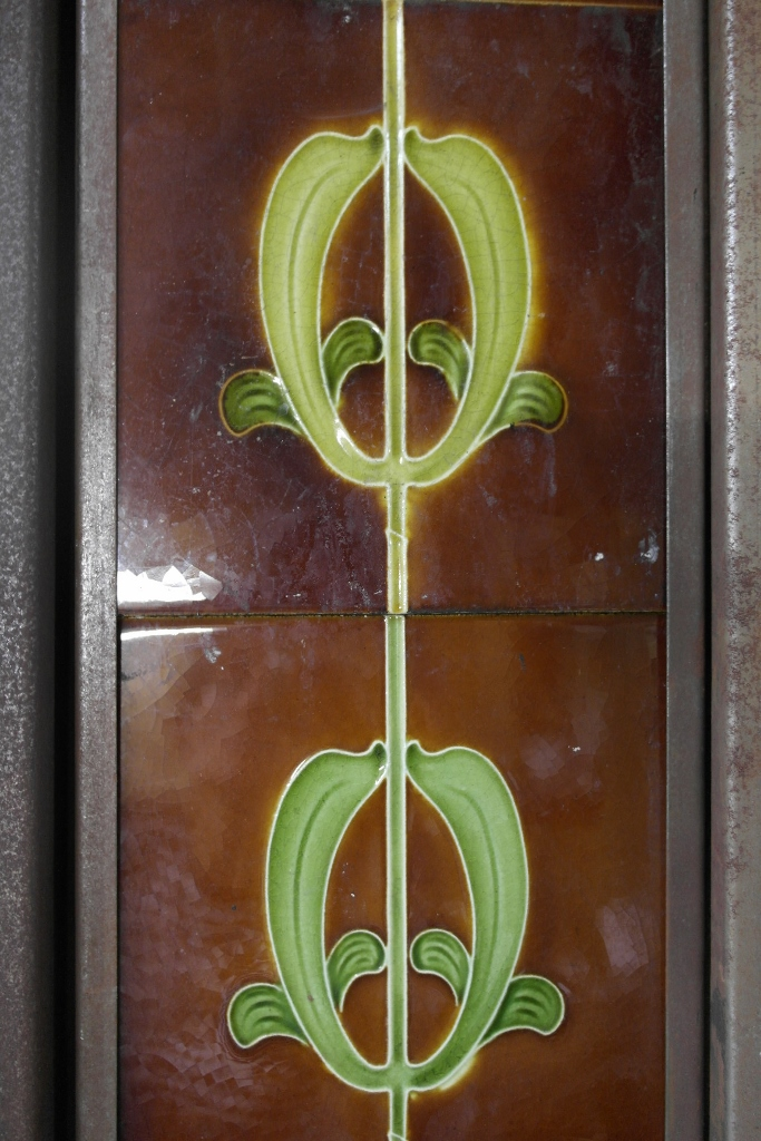 AN020-Original Art Nouveau Fireplace Tiles. - Old Fireplaces