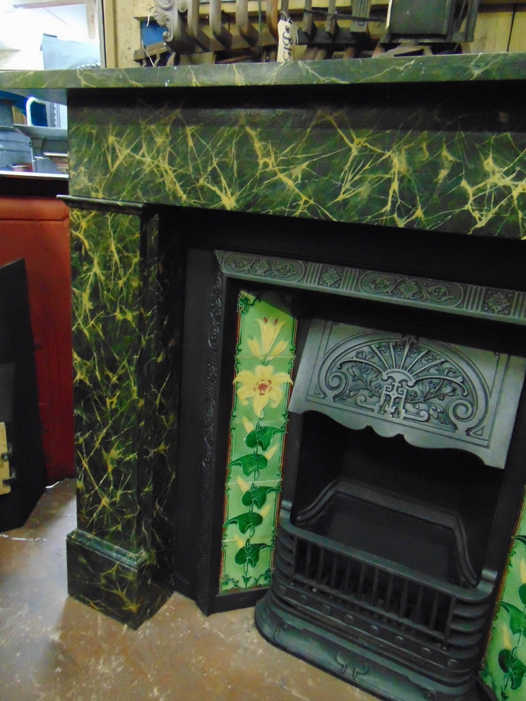 Victorian Painted Slate Fireplace 136ss 1833 Antique