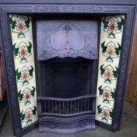 Petite Art Nouveau Tiled Insert - 1890TI - Antique Fireplace Company
