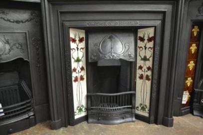 Petite Art Nouveau Tiled Insert 1890TI Antique Fireplace Company