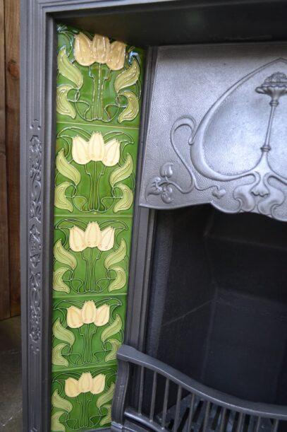 Petite Art Nouveau Tiled Insert 1890TI - Oldfireplaces