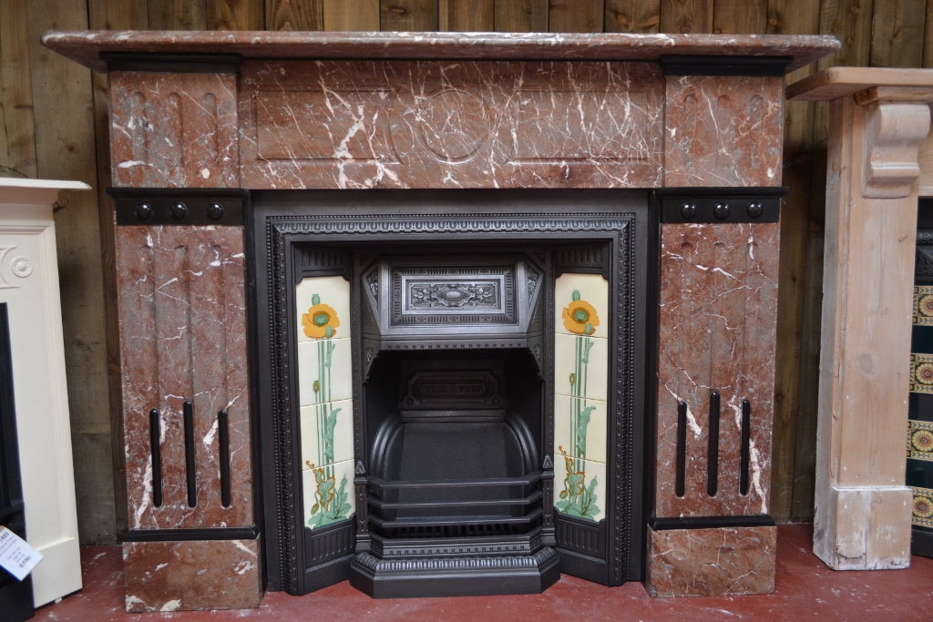 Victorian Tiled Insert 185ti 1900 Antique Fireplace Co