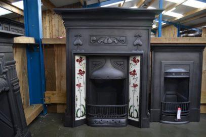 Art Nouveau Tiled Combination Fireplace 1927TC - Oldfireplaces