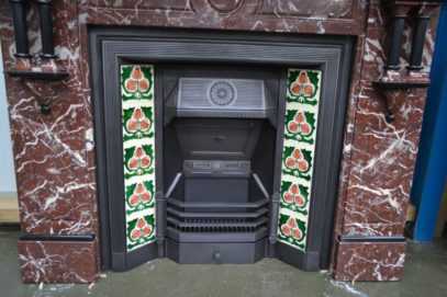 Late Victorian Tiled Insert 1937TI with Victorian Marble Fireplace 1284MS