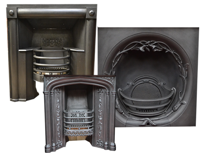 Cast iron inserts, hob and register grates