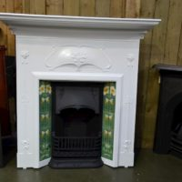 Painted Art Nouveau Tiled Fireplace 1963TC - Oldfireplaces