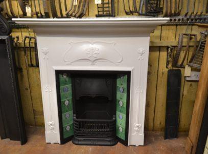 Art Nouveau Cast Iron Tiled Fireplace 1963TC- Oldfireplaces