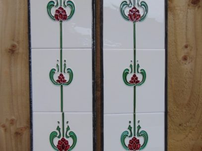 Burgandy Tulip Art Nouveau Reproduction Fireplace Tiles R011 - The Antique Fireplace Company