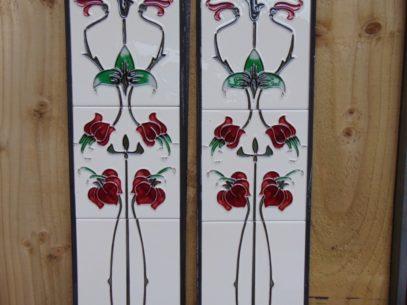 Burgandy Art Nouveau Reproduction Fireplace Tiles R014 - Oldfireplaces