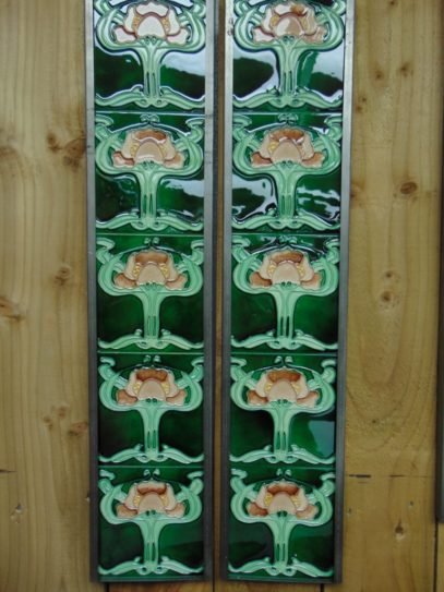 Art Nouveau Styled Reproduction Fireplace Tiles R049 Oldfireplaces