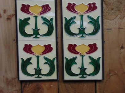 Art Nouveau Styled Reproduction Fireplace Tiles R051 Art Nouveau Styled