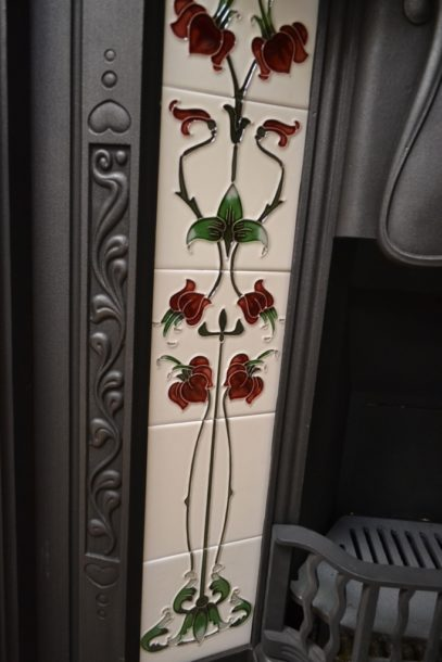 Original Art Nouveau Tiled Insert 2023TI Old Fireplaces