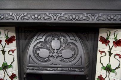 Reclaimed Art Nouveau Tiled Insert 131TI - Antique Fireplace Co