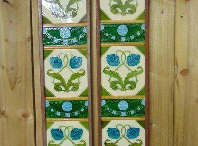 Blue Flowered Art Nouveau TilesAN018 Antique Fireplace Company