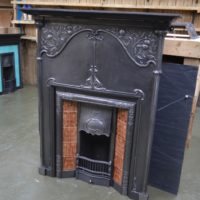 Polished Art Nouveau Tiled Combination Fireplace 3086TC - Antique Fireplace Company