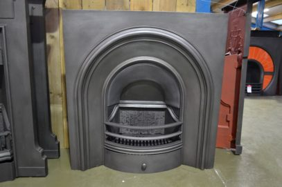 Simple Victorian cast iron arched fireplace insert - The Antique Fireplace Company
