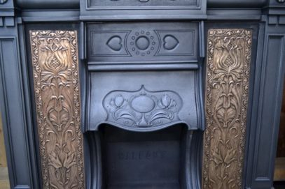 Arts and Crafts Insert with brass panels -1295I - Oldfireplaces