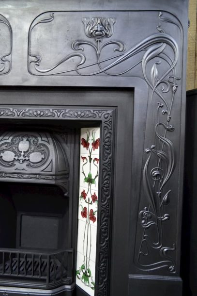 Edwardian Art Nouveau Cast Iron Surround 3098CS - Oldfireplaces