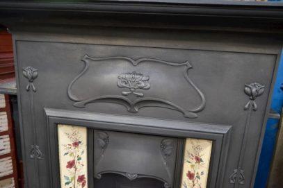 Restored Art Nouveau Tiled Fireplace 4001TC - Antique Fireplace Company