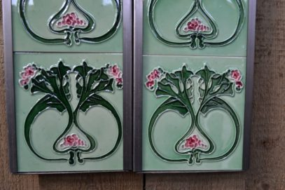 Pink and Green Fireplace Tiles R002 - Oldfireplaces