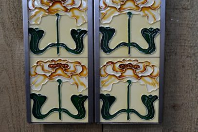 Stylised Tan Flower Reproduction Fireplace Tiles R034 - Oldfireplaces