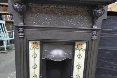 Unique Art Nouveau Tiled Fireplace 4187TC - Oldfireplaces