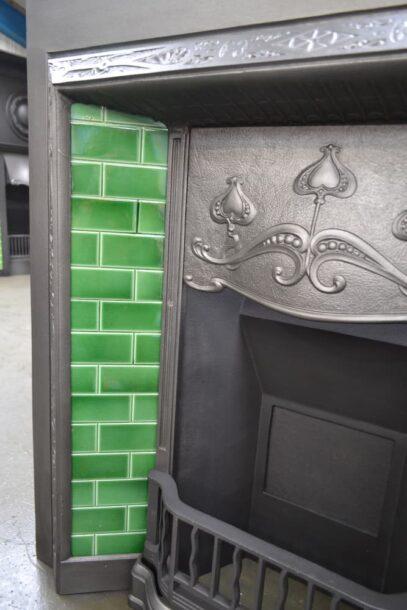Vintage Art Nouveau Tiled Insert 42421TI - Oldfireplaces